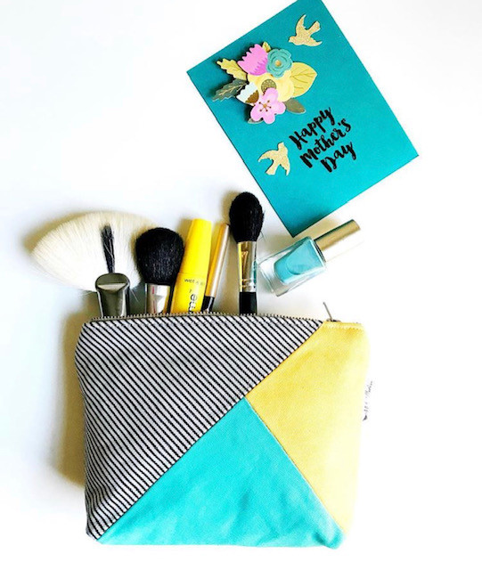 Handmade Card Making - Canvas Makeup Bag Yellow and Aqua