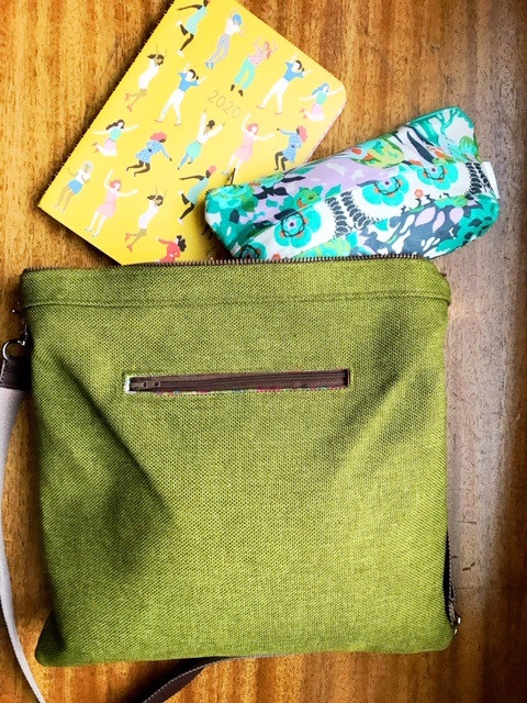 Cosmetic Bag for Purse - Floral Print Green