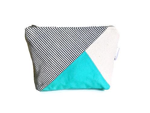 Striped Canvas Travel Makeup Bag