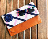 Striped Women's Clutch Bag, Clutch Purse