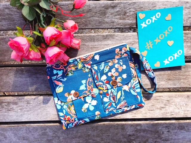 best valentine's day gifts - wristlet wallets - blue wristlet - floral wallet print - handmade