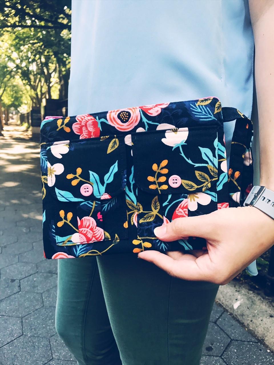 Wristlet Bag - Navy Blue Floral Print - Wristlet Wallet