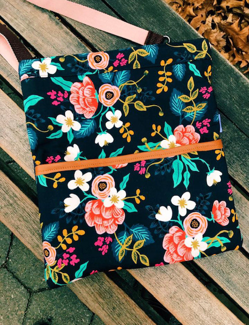 Handmade Messenger Bag - Blue Floral Print
