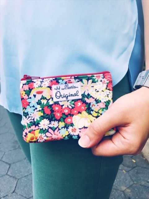 American Made Wallets - Red Floral Coin Purse Wallet