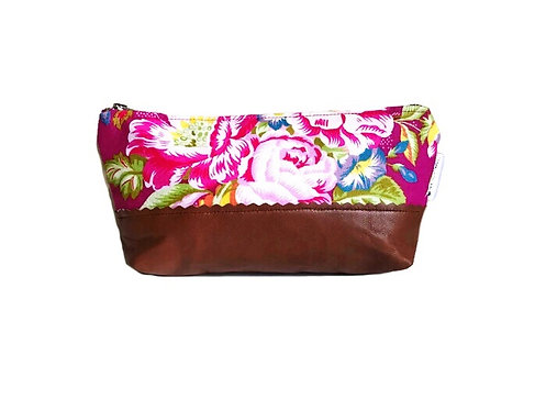 Floral Pink Leather Pouch