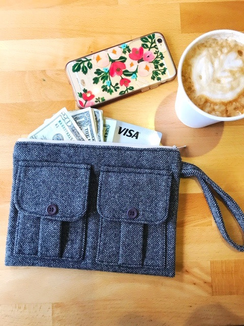 Large Wristlet Wallet - wool tweed fabric