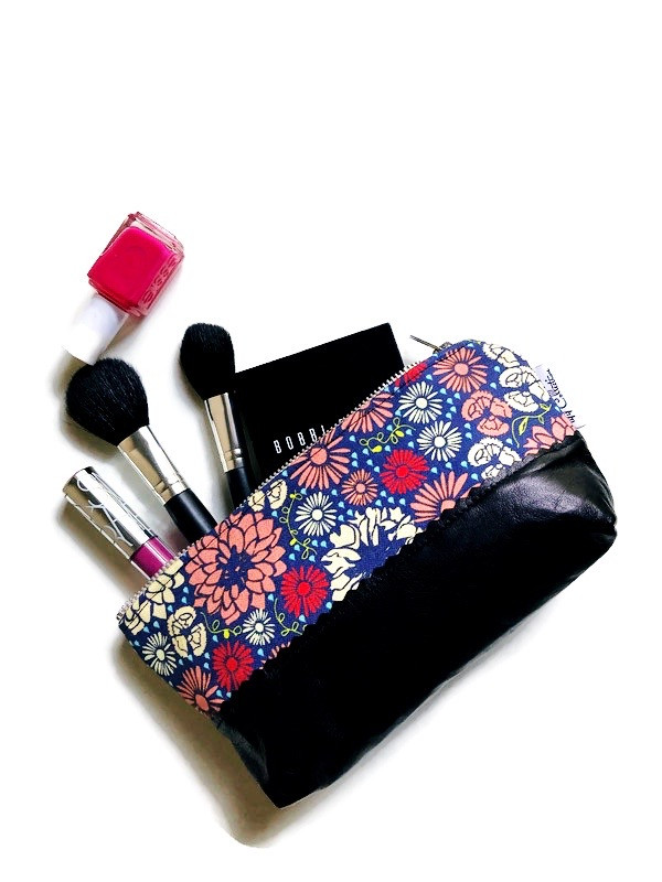 Leather Cosmetic Bag - Black and Red Floral Print