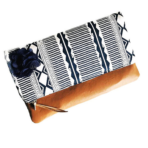 Woven Blue Foldover Leather Clutch