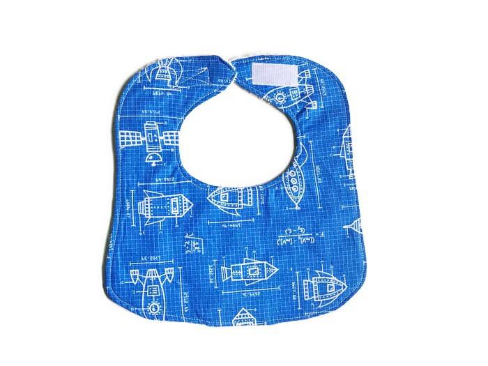 Baby Drool Bibs - Spaceships Blue Print