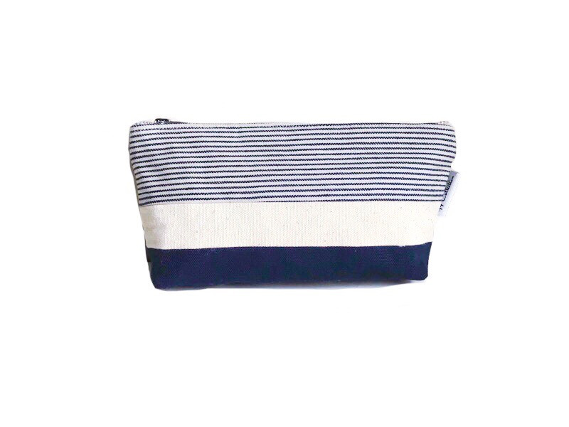 Canvas Zipper Pouch - Striped Blue and Natural