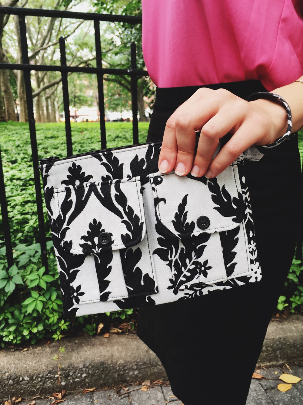 Wristlet Bag - Grey and Black Damask Print
