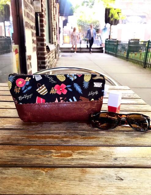 Leather Makeup Bag - Bon Voyage Print