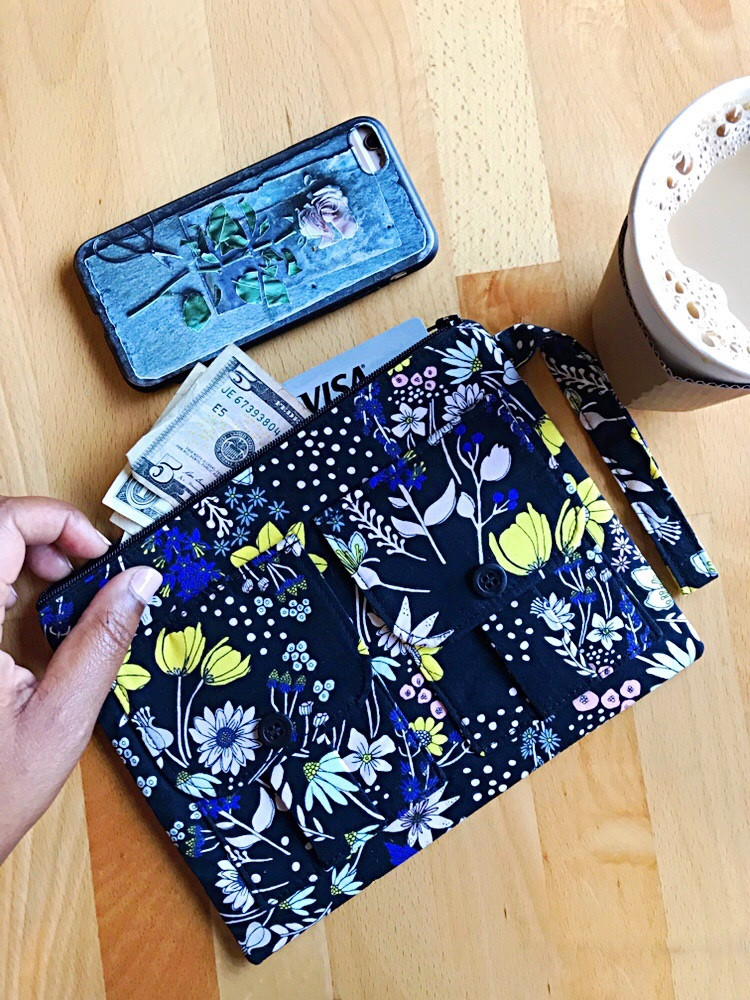 iphone wallet for women black floral print
