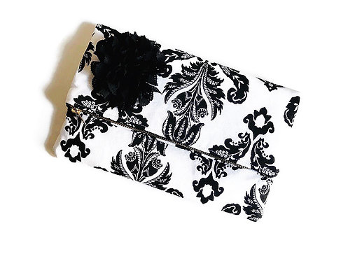 Damask Print Foldover Clutch Purse