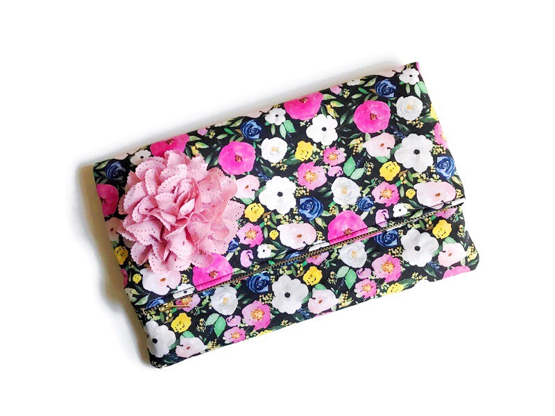 Foldover Clutch Bags - black and white floral prints