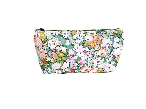 Floral Green Makeup Bag