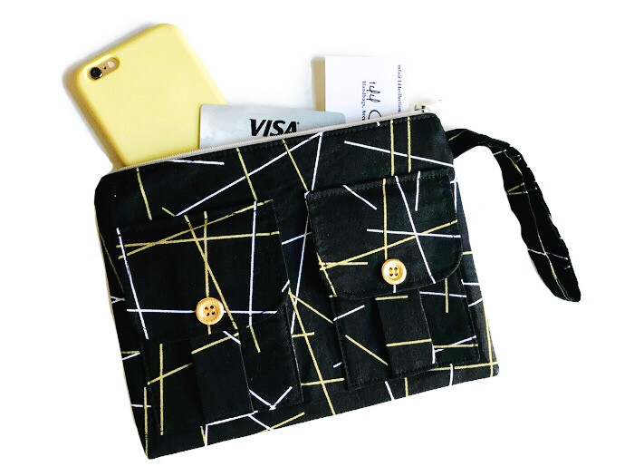Wristlet Bag - Black and Metallic Gold Print