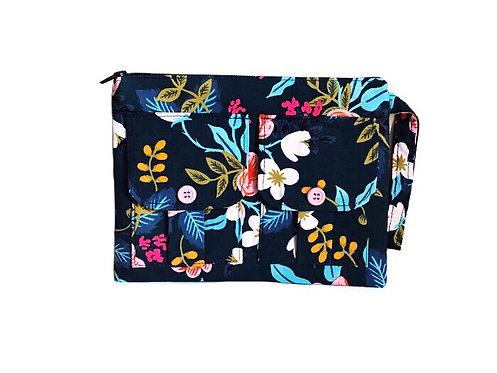 Wristlet Purse - Blue Floral Print - Cute Wristlet - Large Wristlet - Handmade Handbags