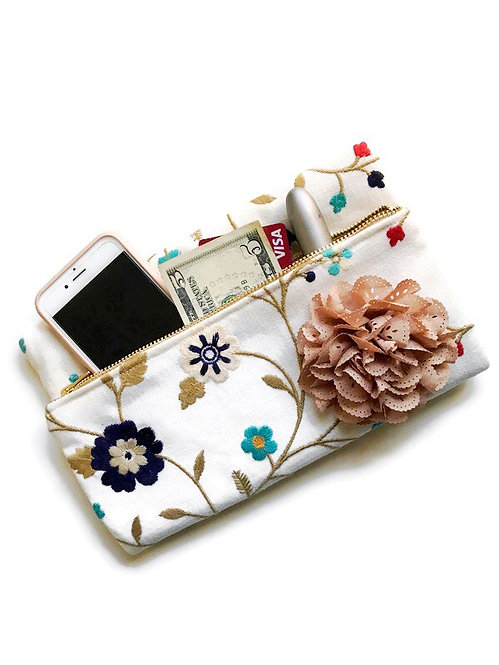 large foldover clutch - floral print fabric
