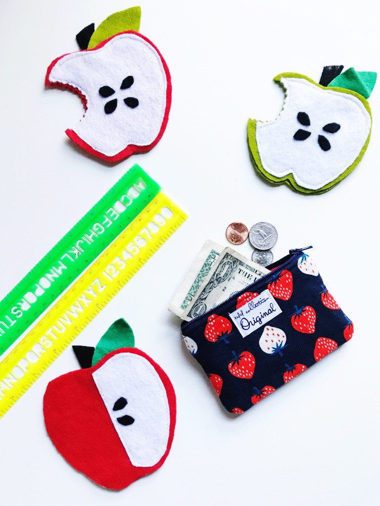 Back to School Girls Coin Purses - Strawberry Print