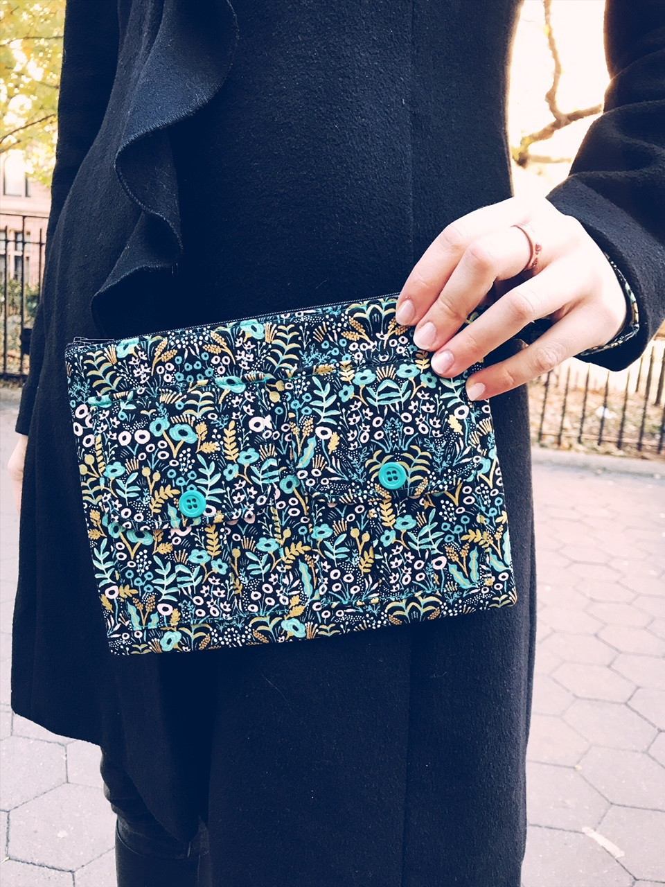 Wristlet Bag - Black Floral Print - Wristlet Wallet