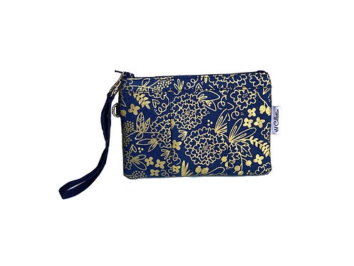 Gold Metallic Flowers Wristlet Purse