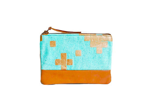 Metallic Copper Mint Leather Coin Pouch