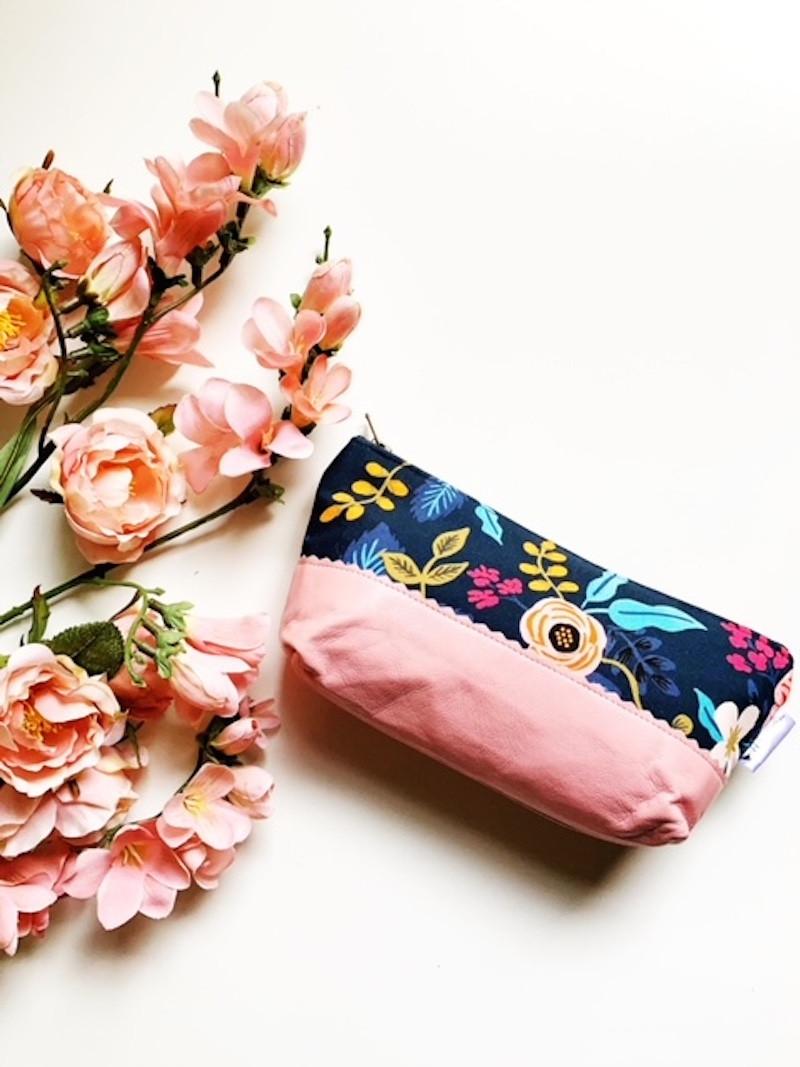 Floral Blue and Bubblegum Pink Leather Makeup Bag