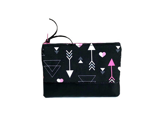 Hearts and Arrows Black Leather Coin Purse