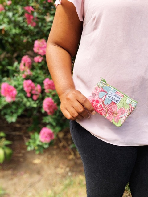 coin purse wallet - green and pink floral print