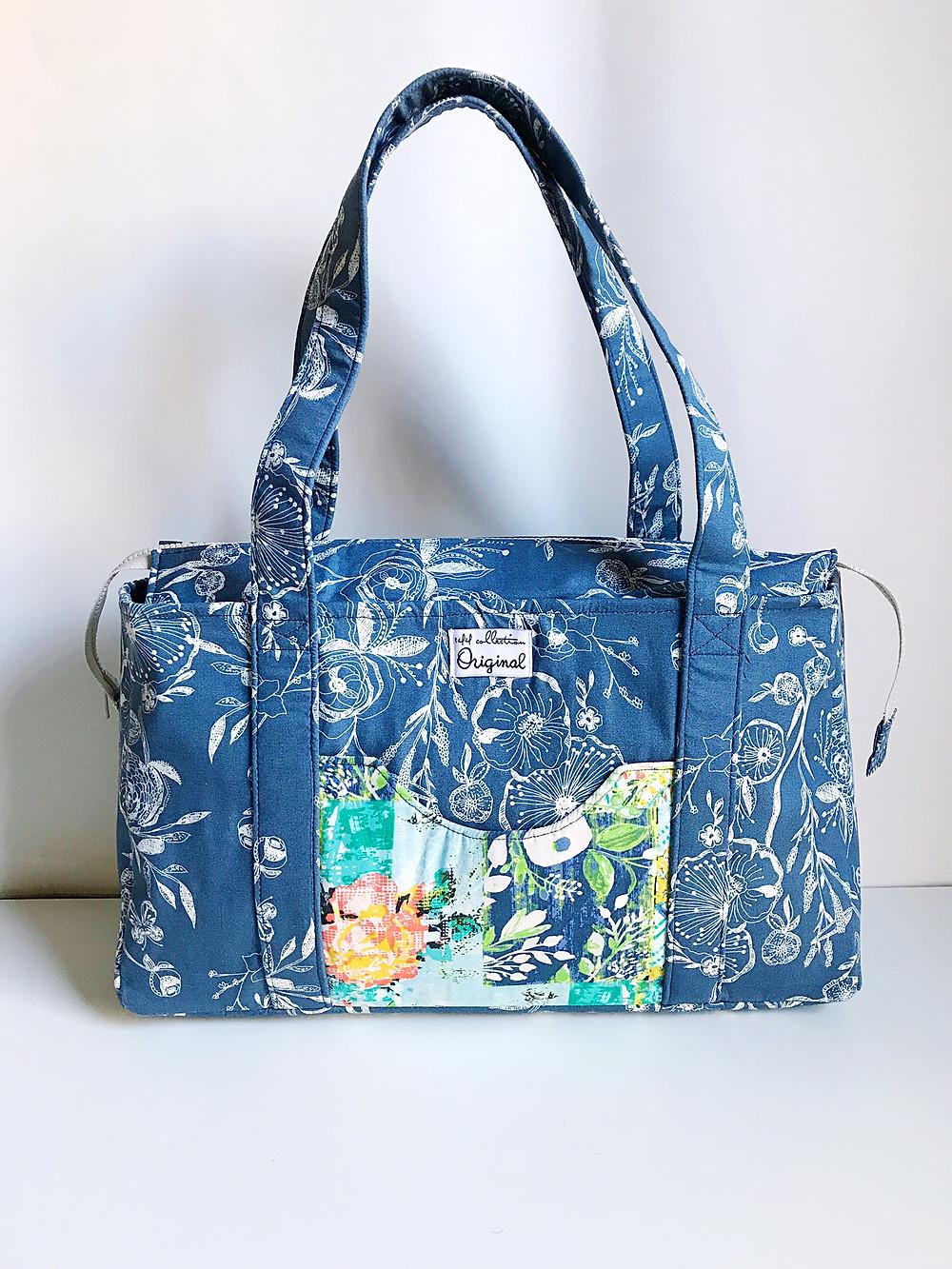 Handmade Handbag – Blue Floral Pattern