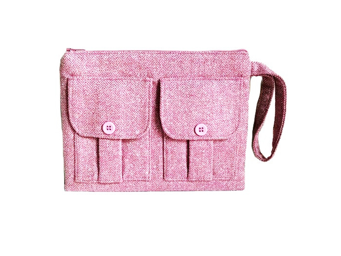 Wristlet Bag - Pink Wool Tweed Wristlet
