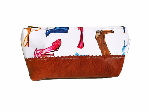Shoes Brown Leather Makeup Pouch