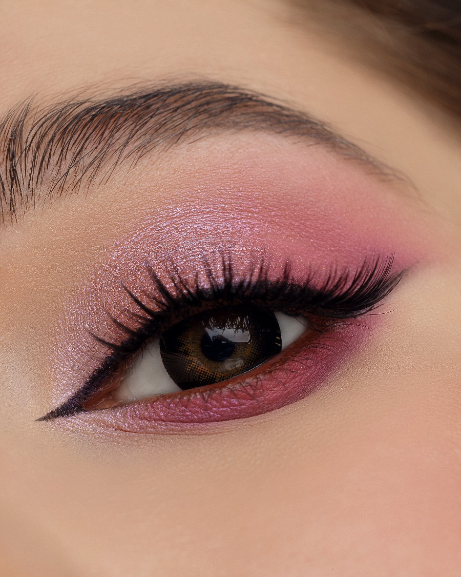 pink and light pink eye makeup on woman
