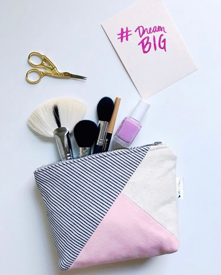 Canvas Makeup Bag - Pink