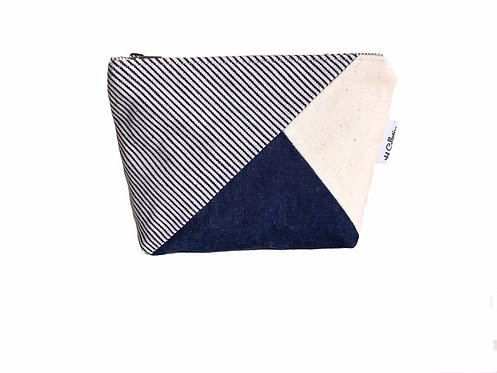 Blue Canvas Makeup Bag