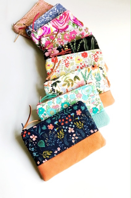 leather coin pouches - floral print