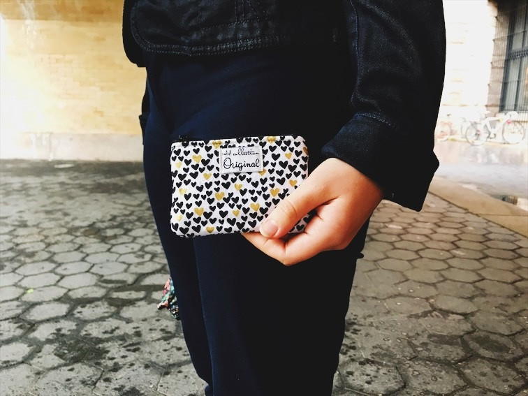 American Made Wallets - Hearts Gold and Black Coin Purse Wallet
