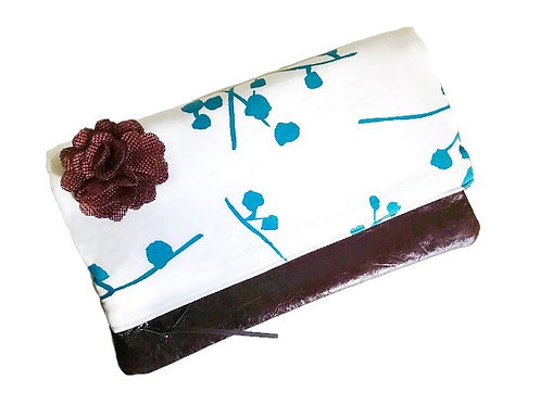 Foldover Leather Clutch - Teal Buttonballs - Handmade Clutch
