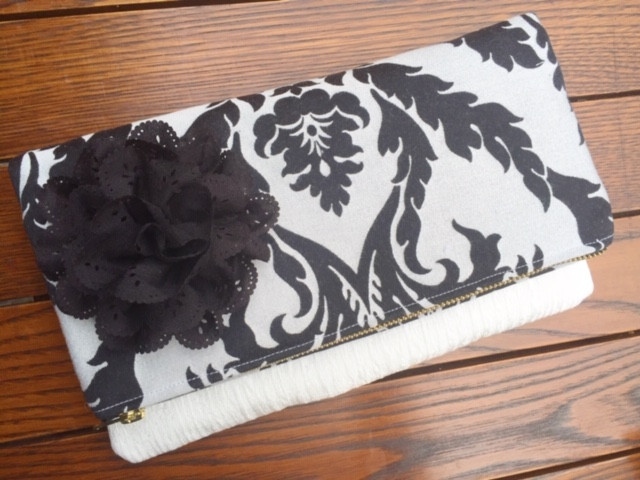 Handmade Evening Bags - Black and Gray Damask Fold Over Clutch Purse