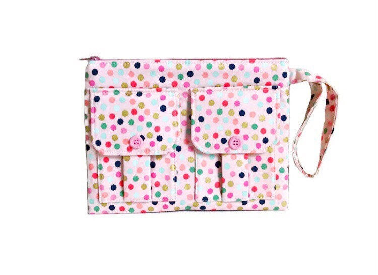 Wristlet Wallet - Pink with Polka Dots