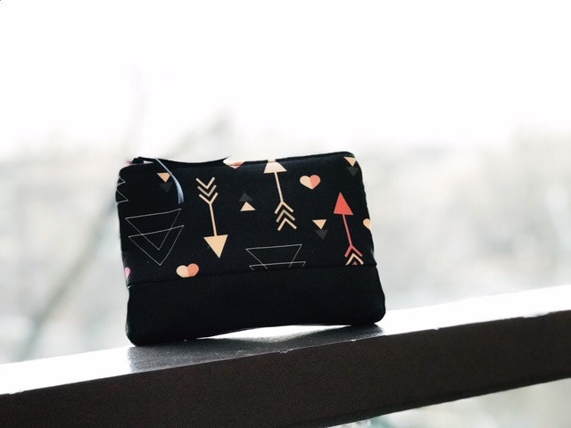 Heart Print Wallet for Women - Black