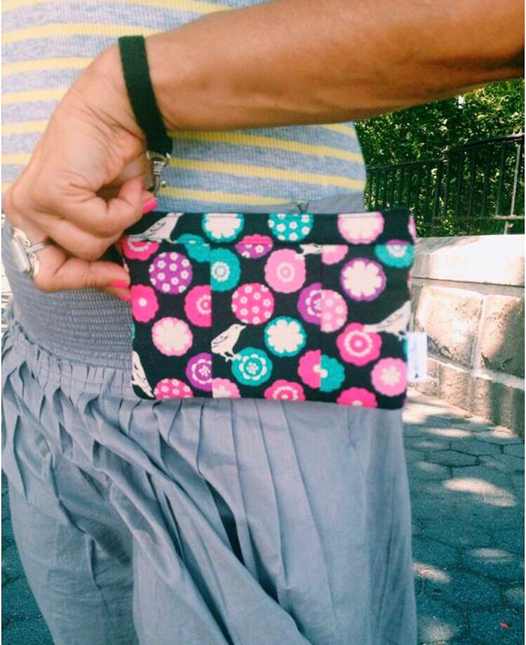 American Made Wallets - Small Black Floral Wristlet Wallet