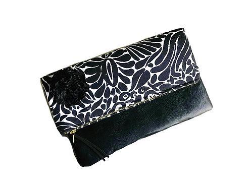 Black Floral Fold Over Leather Clutch