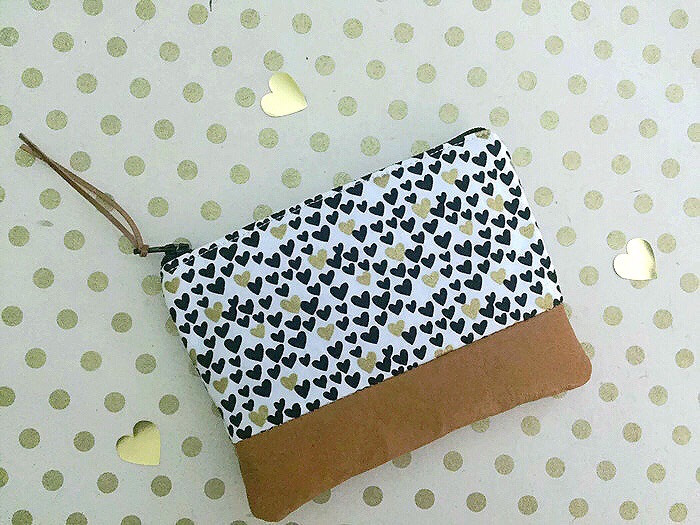 Handmade Card Making - Coin Purse Leather with Hearts