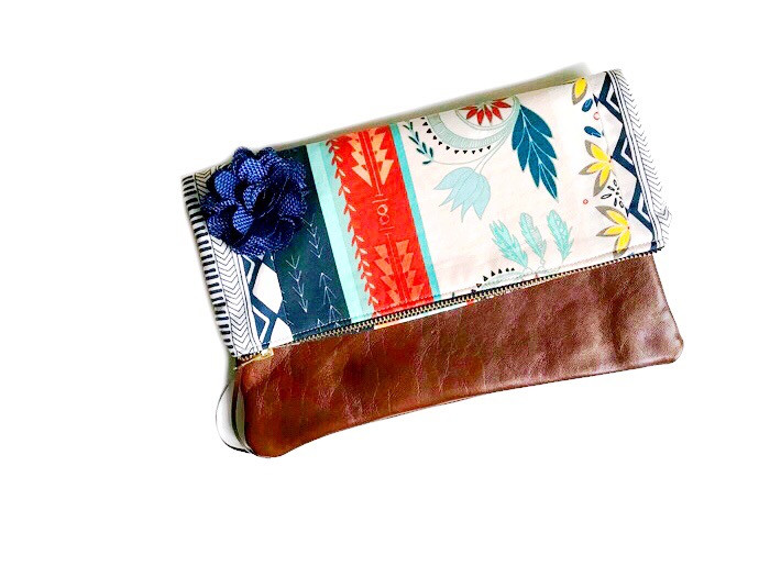Foldover Clutch Bag - Blue Floral Print