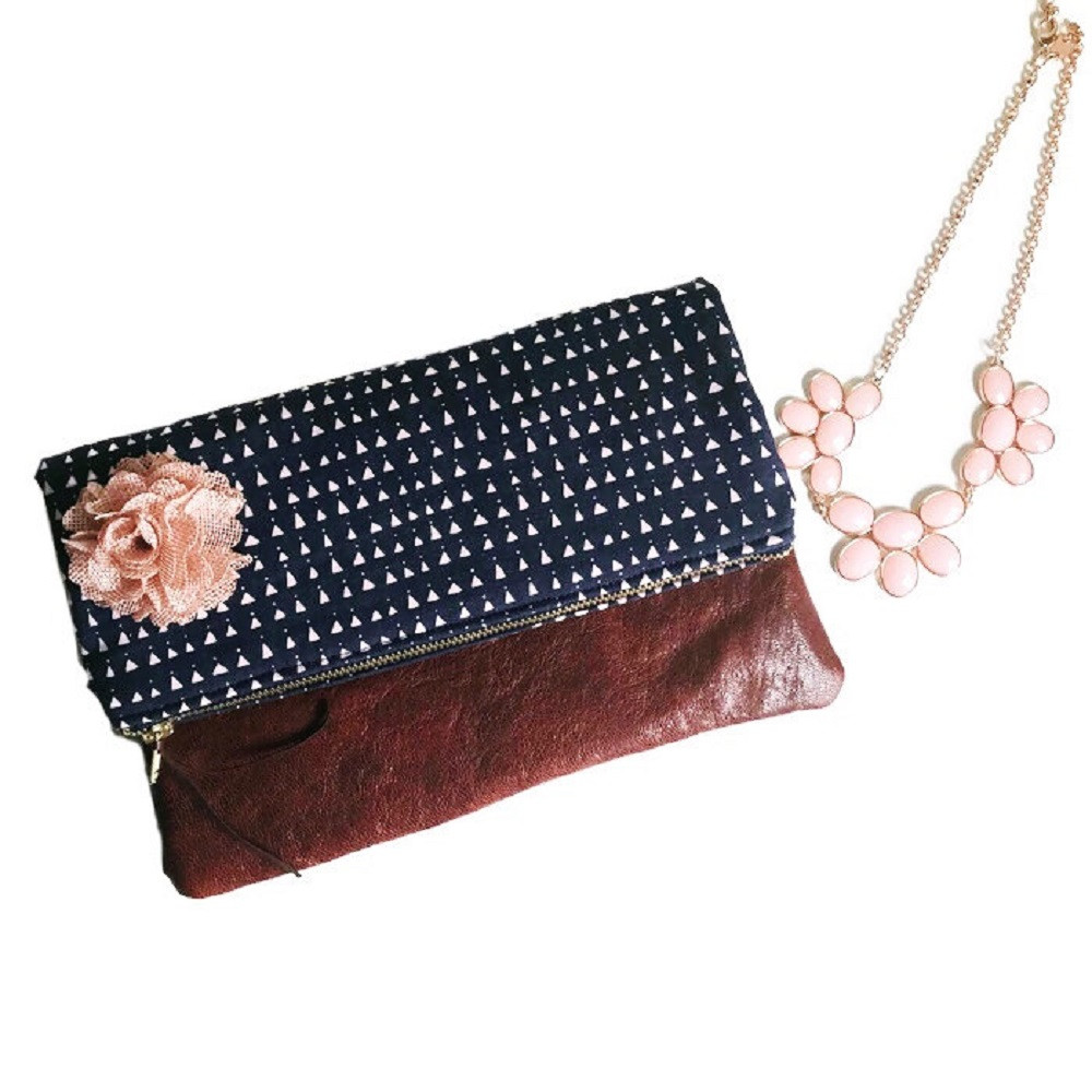 Handmade Clutch - Navy Blue and Pink