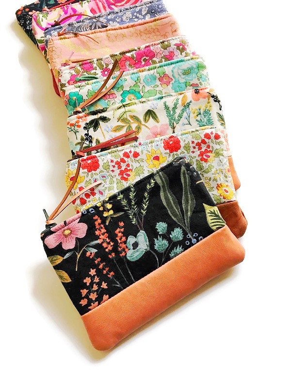 leather coin purses - floral print