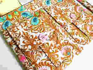 Handmade Wristlet - Brown Floral Print Front Pockets