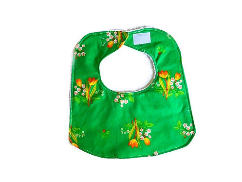 Handmade Baby Bib - Green Floral Baby Bib